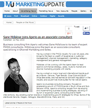 Sane Mdlalose joins Aperio as an associate consultant